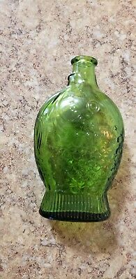 Vintage Green Glass Wheaton Dr. Fisch's Bitters Fish Shaped Bottle 1971 Cool