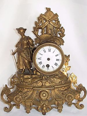 03D53 ANTIQUE CLOCK REGULATED GOLDEN EARLY 20th STATUE WOMAN AND MILL SIGN