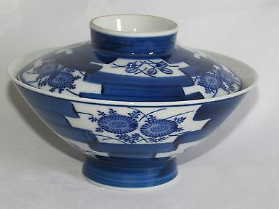 05D48 Antique Bowl Rice Porcelain Camaïeu Blue China Signature To Identify