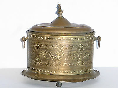 09B46 Antique Box Copper Brass Regrowth Art Islamic Oriental Middle Orient