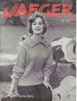 Vintage Knitting Pattern Jaeger D5314 Ladys Cabled Eyelet Sweater 30