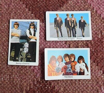 3 x Swedish chewing gum trade cards 1968 pop music Abba interest 1960s Sweden