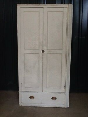 Antique Old Painted Pine School Storage Cupboards / Wardrobes