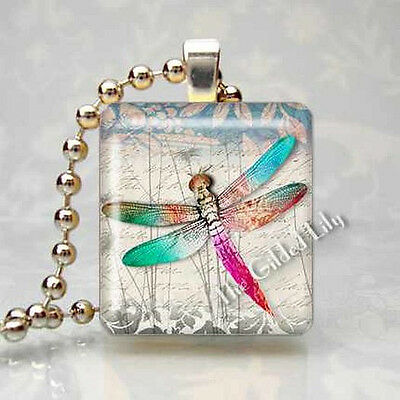 DRAGONFLY INSECT Scrabble Tile Altered Art Pendant Jewelry Charm