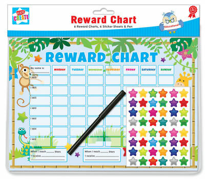 6x Children's Behaviour Reward Chart Star Stickers Kids Preschool Jungle Theme