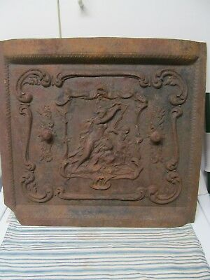 Antique Cast Iron Fireplace Cover, Woman/Child Playing a Harp. 2 Vents,Grate,