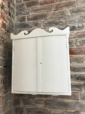 Antique Vintage Pine Rustic Shabby Painted wall cupboard 2 doors and shelves
