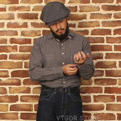 Bronson 1900s Cotton & Linen Shirt Vintage Men's Stripes Chambray Work Shirts