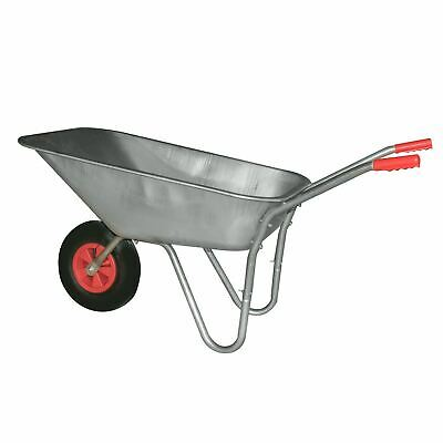 Heavy Duty Wheelbarrow 80L Litre Galvanised Steel Outdoor Wheel Barrow Pneumatic