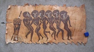 Aboriginal  Hand Painted   Bark  Painting   46 Inches By 24 Inches