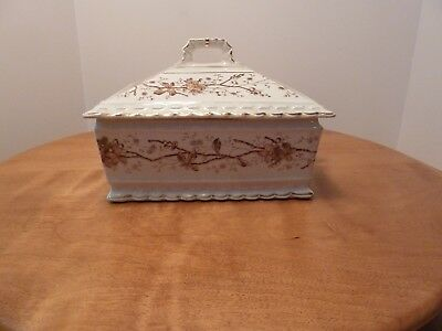 Antique Mercer China Porcelain Transfer ware - Square Serving Dish with Lid