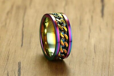 Stainless steel Rotating chain ring Stylish fidget spinner band rainbow anodized