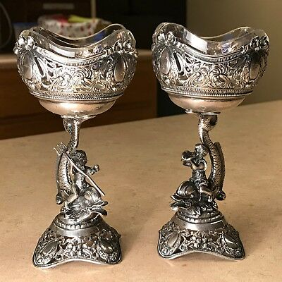 Antique German Silver Figural Cherub Salt Cellars
