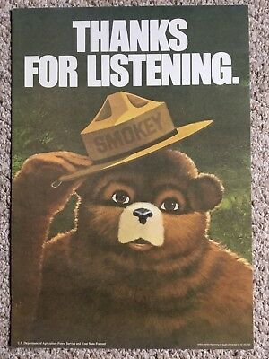 "SMOKEY THE BEAR POSTER on card stock 13 "" x 18 1/2"" EXCELLANT CONITION!"