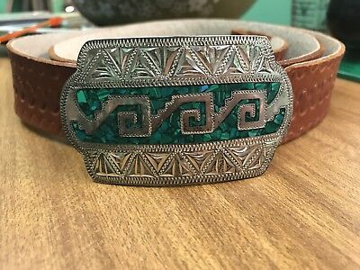 Vtg Sterling 925. TP-110 Silver Jade Inlay Southwestern Style Belt Buckle Mexico