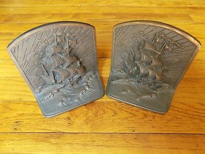 Vintage Cast Iron / Brass Tall Sailing Ship Bookends  -- NICE ONES