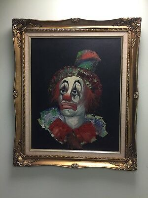 Mid Century Oil Clown Painting On Canvas by Louis Spiegel