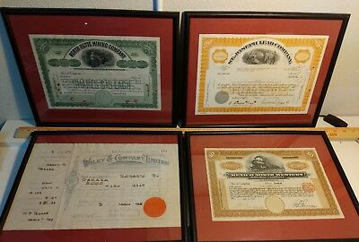 Lot of 4 Vintage stock certificates - Framed - Mining / Metal / Railroad