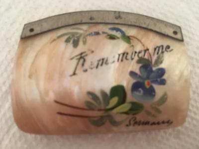 Antique Vintage Mother of Pearl Shell Hand Painted Small Coin Purse ~ Germany