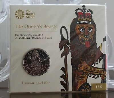 2017 Royal Mint Queen's Beasts Lion of England Five Pound £5 Coin BUnc - Sealed