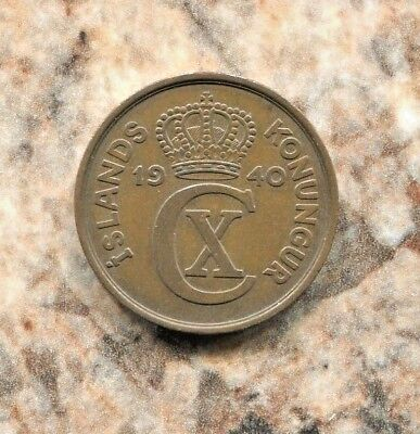 Iceland - Beautiful Historical Christian X Bronze 5 Aurar, 1940