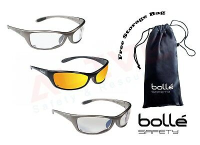 BOLLE SPIDER Safety Glasses UV Protection Clear ESP FLASH Lens Free Storage Bag