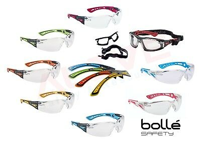 Bolle Safety Glasses RUSH +  Clear Anti-Srcatch Anti-Fog Lens - Various temples