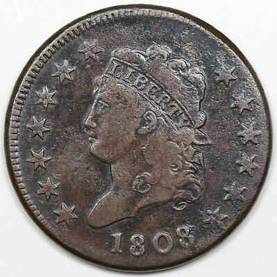 1808 Classic Head Large Cent, F-VF detail
