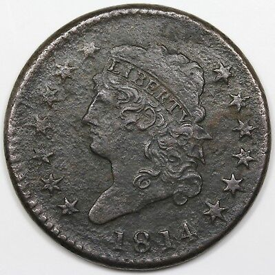 1814 Classic Head Large Cent, Crosslet 4, VF-XF detail