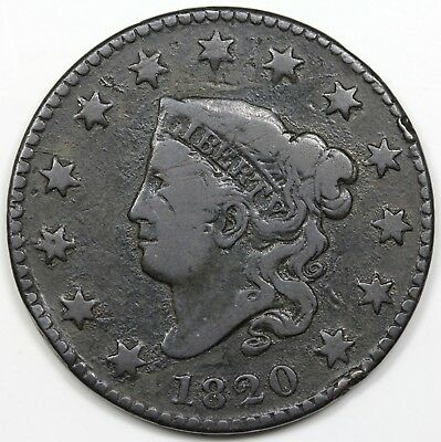 1820 Coronet Head Large Cent, Small Date, VG-F detail