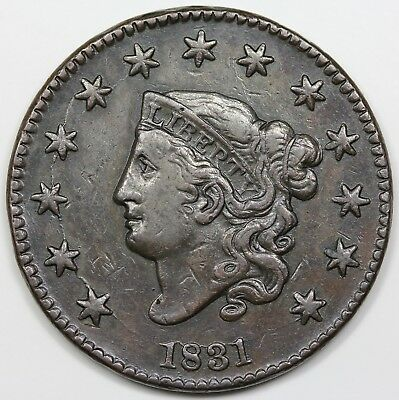 1831 Coronet Head Large Cent, Large Letters, VF+ detail