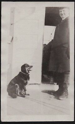 Vintage Photograph 1920 House Dog Puppy Freeport New York Red Tinted Old Photo
