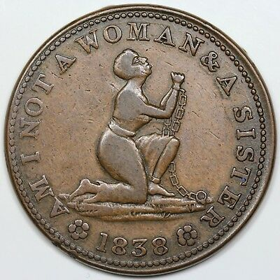 1838 Hard Times Token, Am I Not a Woman & a Sister, VF detail