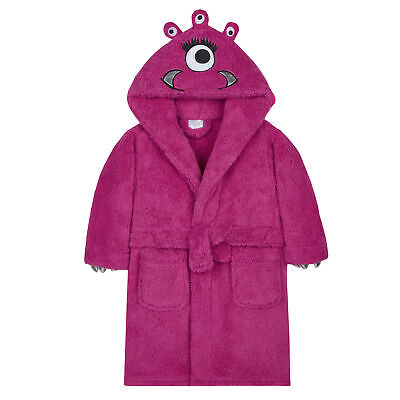 Girls Monster Dressing Gown Robe Snuggle Fleece Pink Kids Childrens Novelty