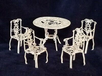 Dollhouse Miniature Elegant Garden White Wire Table and 4 Chairs Set Victorian