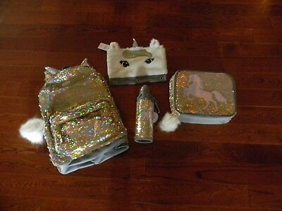 Nwt Justice Unicorn  Flip Sequin Backpack Lunch Tote Water Bottle  Pencil Case