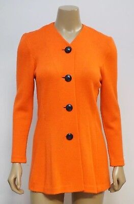 St. John by Marie Gray Size P Jacket Blazer Santana Knit Button Front Orange