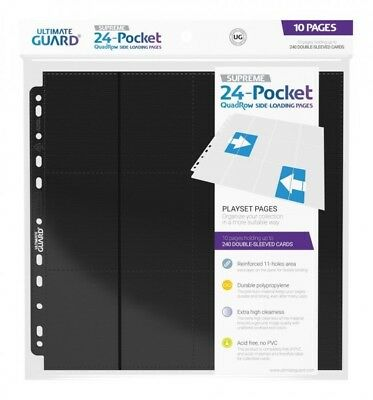Ultimate Guard pack 10 feuilles 24-Pocket QuadRow Pages Side-Loading Noir 09171