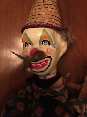 Antique Vintage Clown with Wood Feet, A Plaster Head And Early Plastic Hands