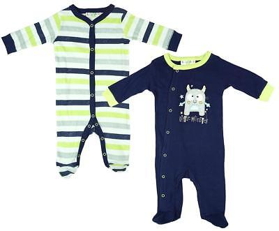 Boys Sleepsuit 2 Pack Little Monster Cotton Rompers Newborn Baby to 9 Months