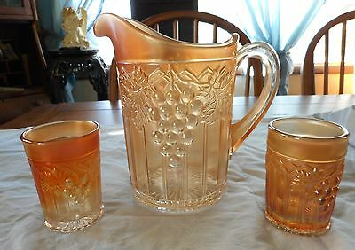 Northwood Marigold Carnival Glass Grape & Gothic Arches Pitcher & Tumblers