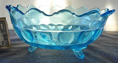 """Antique King & Sons Blue Inverted Thumbprint Oval 8"""" Footed Bowl Htf"""