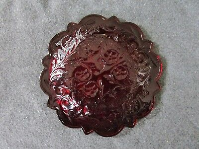 Vintage Mckee Glass Ruby Red Rock Crystal Scalloped Edge Bread & Butter Plate