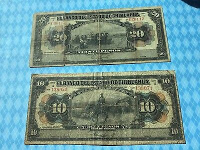 Lot of 2 1913 Mexico Notes 20 and 10 Pesos