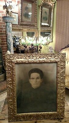 Large  27 X 22.5 Antique Portrait Of A Lady In A Gilded Frame