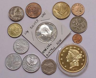 Foreign World Coins  Lot Of 13, Silver Coin Included, See Pics