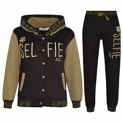 Kids Boys Girls Tracksuit Designer's #Selfie Embroidered Top Bottom Jogging Suit
