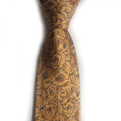 """Brioni men silk dress tie 58"""" long 3.5"""" wide made in Italy yellow with flowers"""