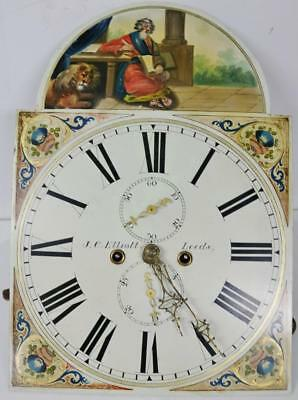 Antique C1840's 8 Day English Grandfather Longcase Clock Movement & Painted Dial