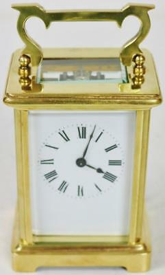 Antique French 19thC 8 Day Brass & Bevelled Glass Timepiece Carriage Clock